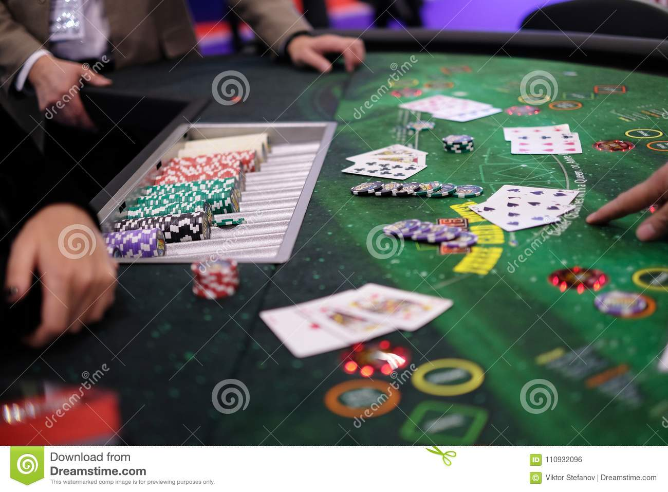 Classic Casino Blackjack Table With Chips And Cards Stock Photo Image Of Background Black 110932096