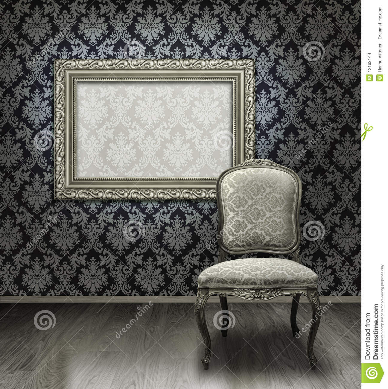 bce03067368a Classic antique chair and silver plated frame in room with damask pattern  wall