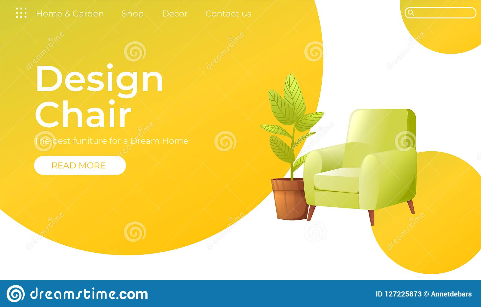 Classic Chair for your home interior design banner. Landing Page Website conept. Comfortable armchair with a plant in a