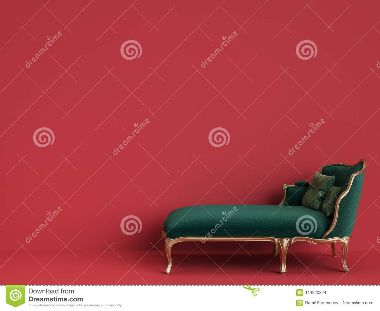 Classic Chaise Longue In Emerald Green And Gold On Red Backgroun