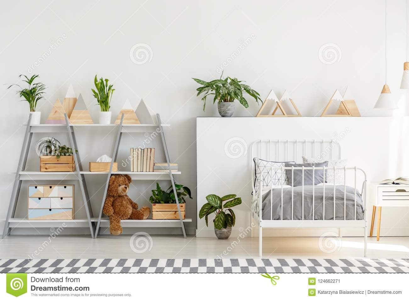 A Classic Child Bedroom Interior With Simple Scandinavian