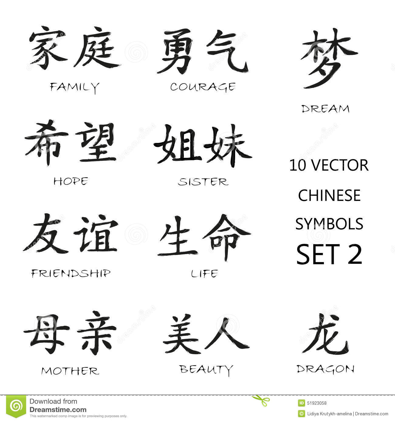 Classic Chinese Ink Symbols Set 2 Stock Vector Illustration Of