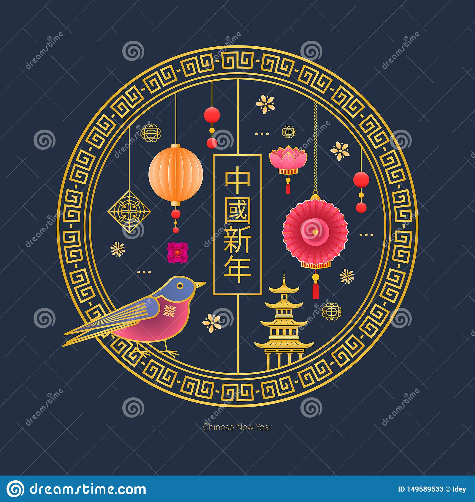 Classic Chinese new year background with lanterns, lotus, bird, flowers