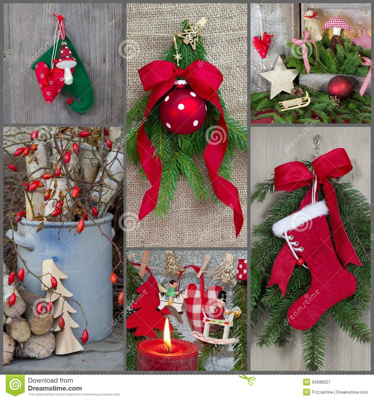 Classic Christmas Decoration Country Style With Red, Green ...