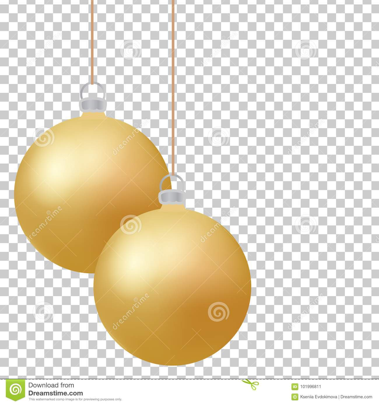 Classic christmas golden balls with glance. Isolated new year baubles design elements. Vector illustration