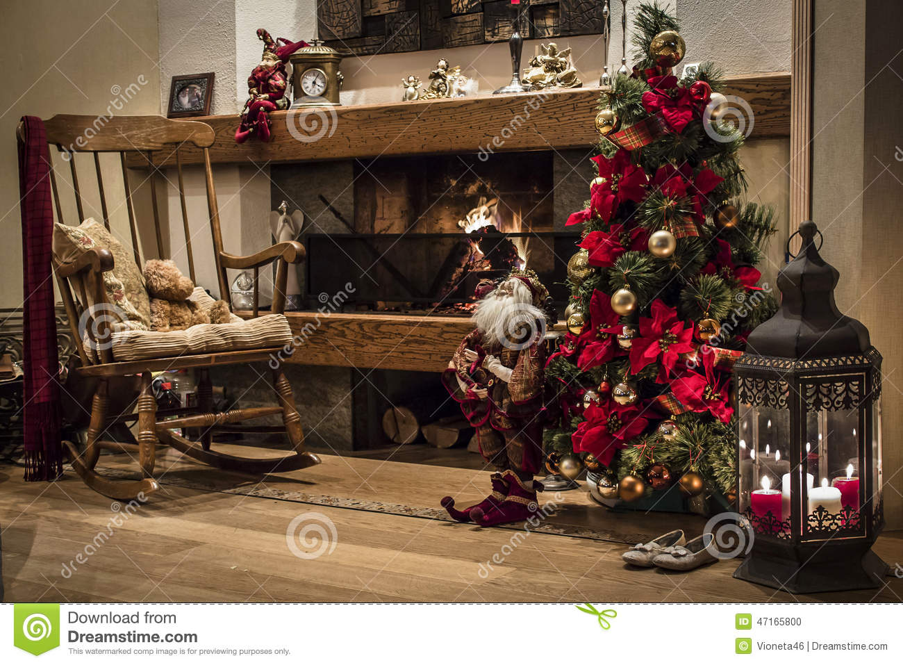 Classic christmas house interior with fireplace and - One time interior house cleaning ...