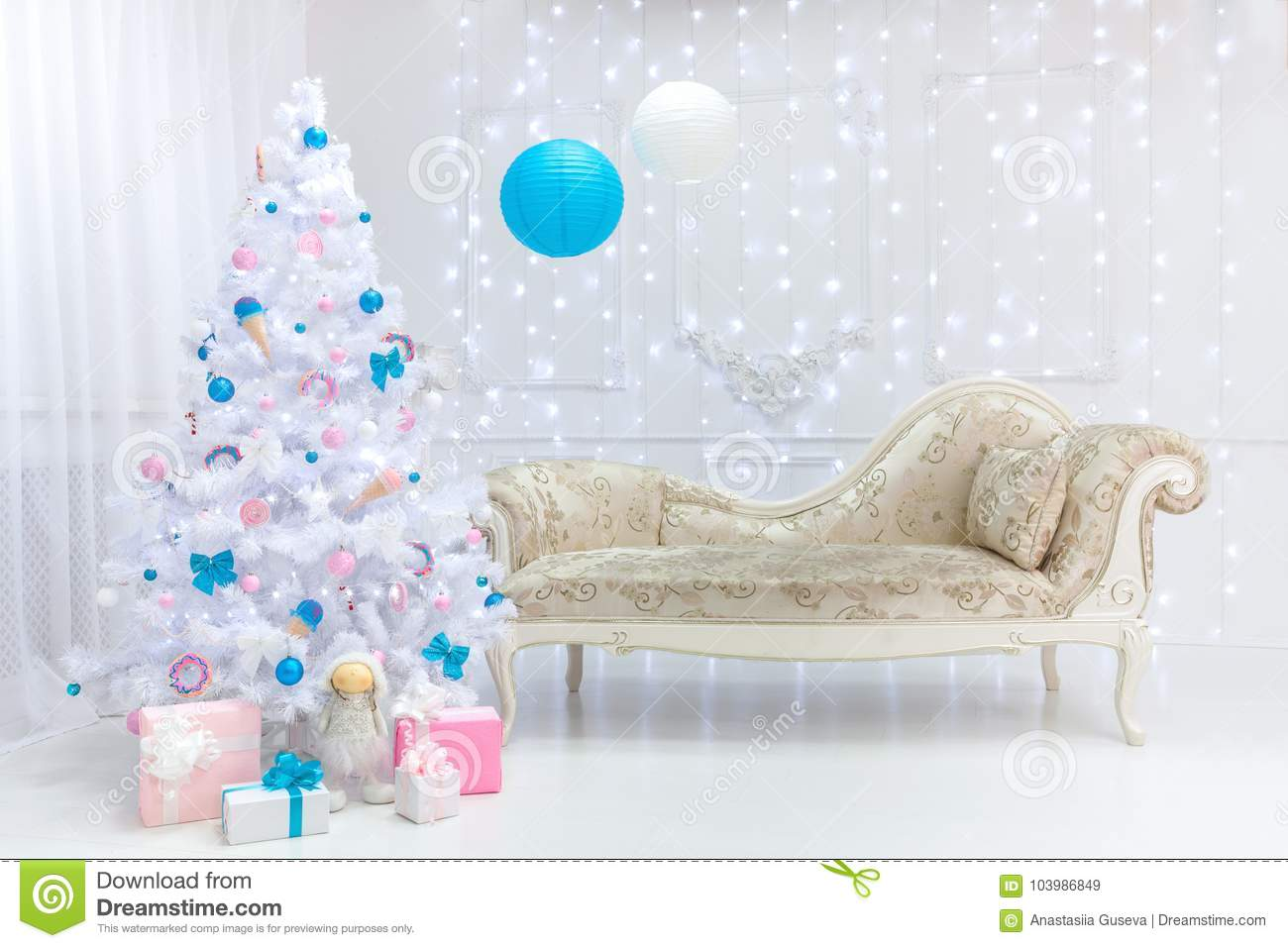 Classic Christmas Light Interior In White Pink And Blue Tones With A Couch Tree And Molding Stock Image Image Of House Classic 103986849