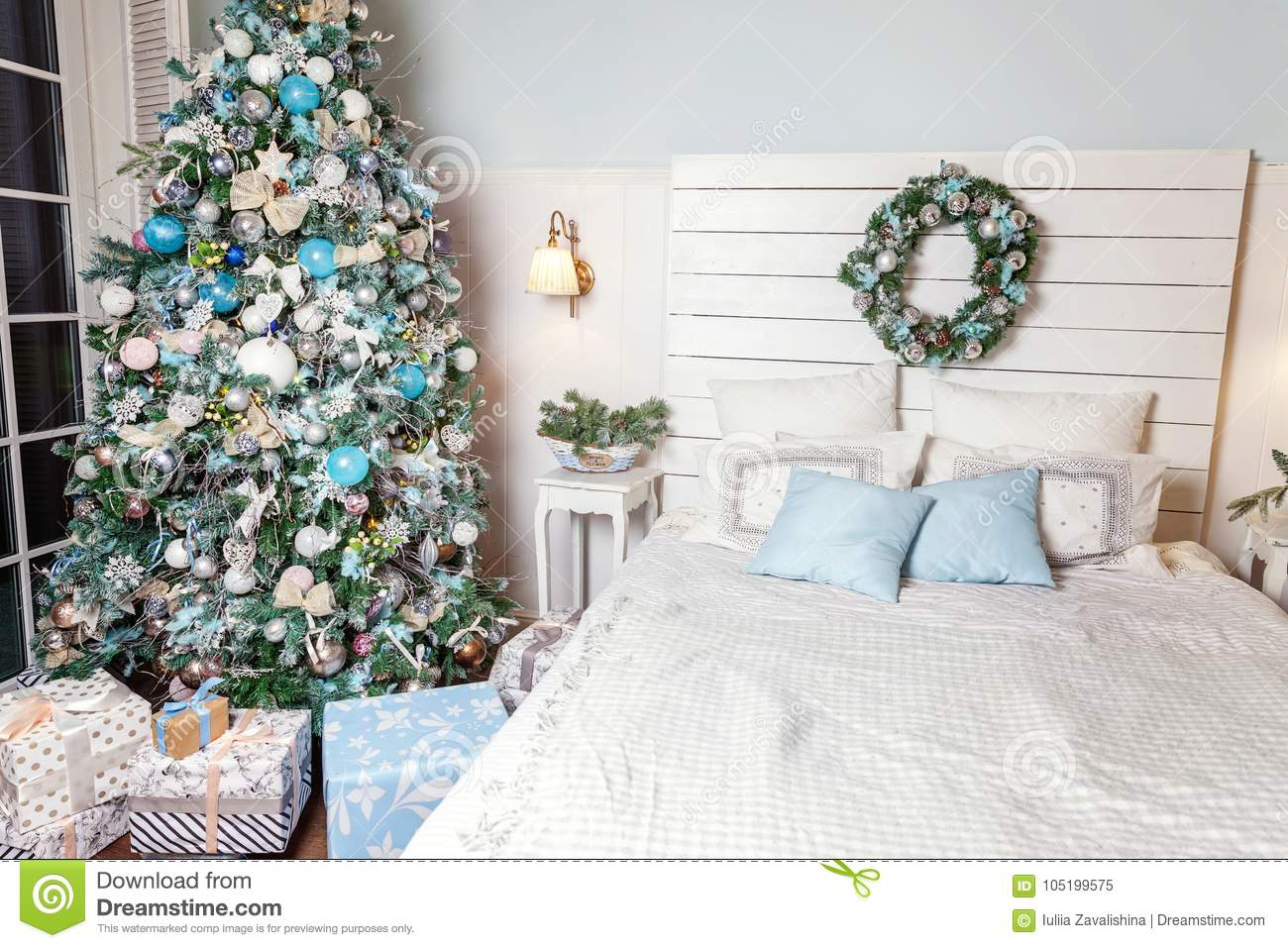 download christmas tree with white blue and silver decorations stock image image of fire