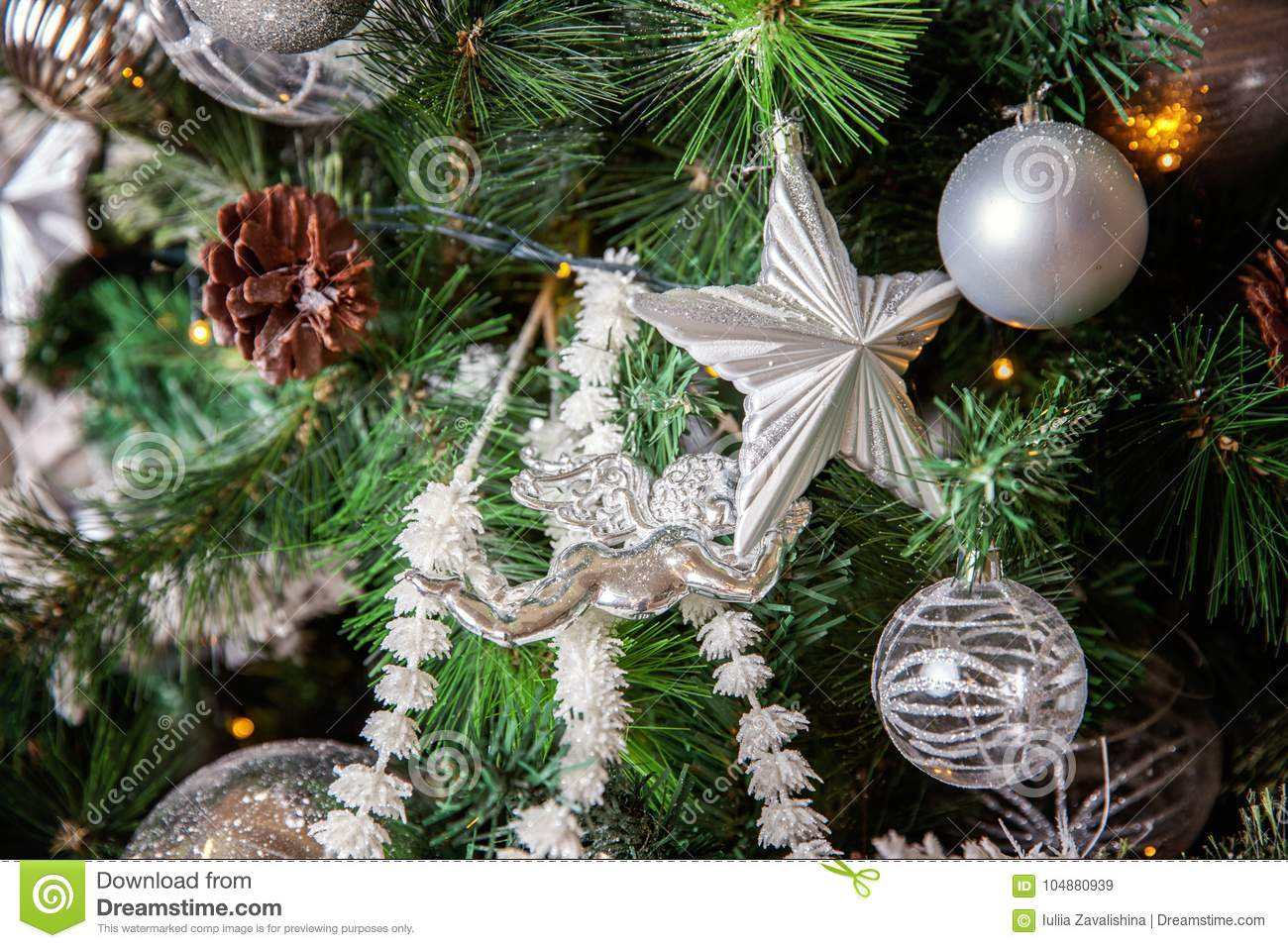 Christmas tree with white and silver decorations stock image image