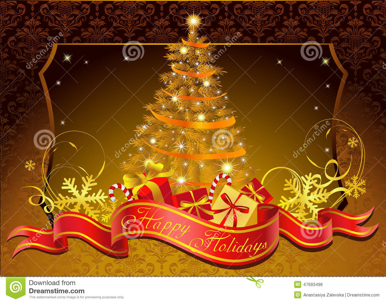 Classic Christmas Tree Stock Vector Illustration Of Painting 47693496