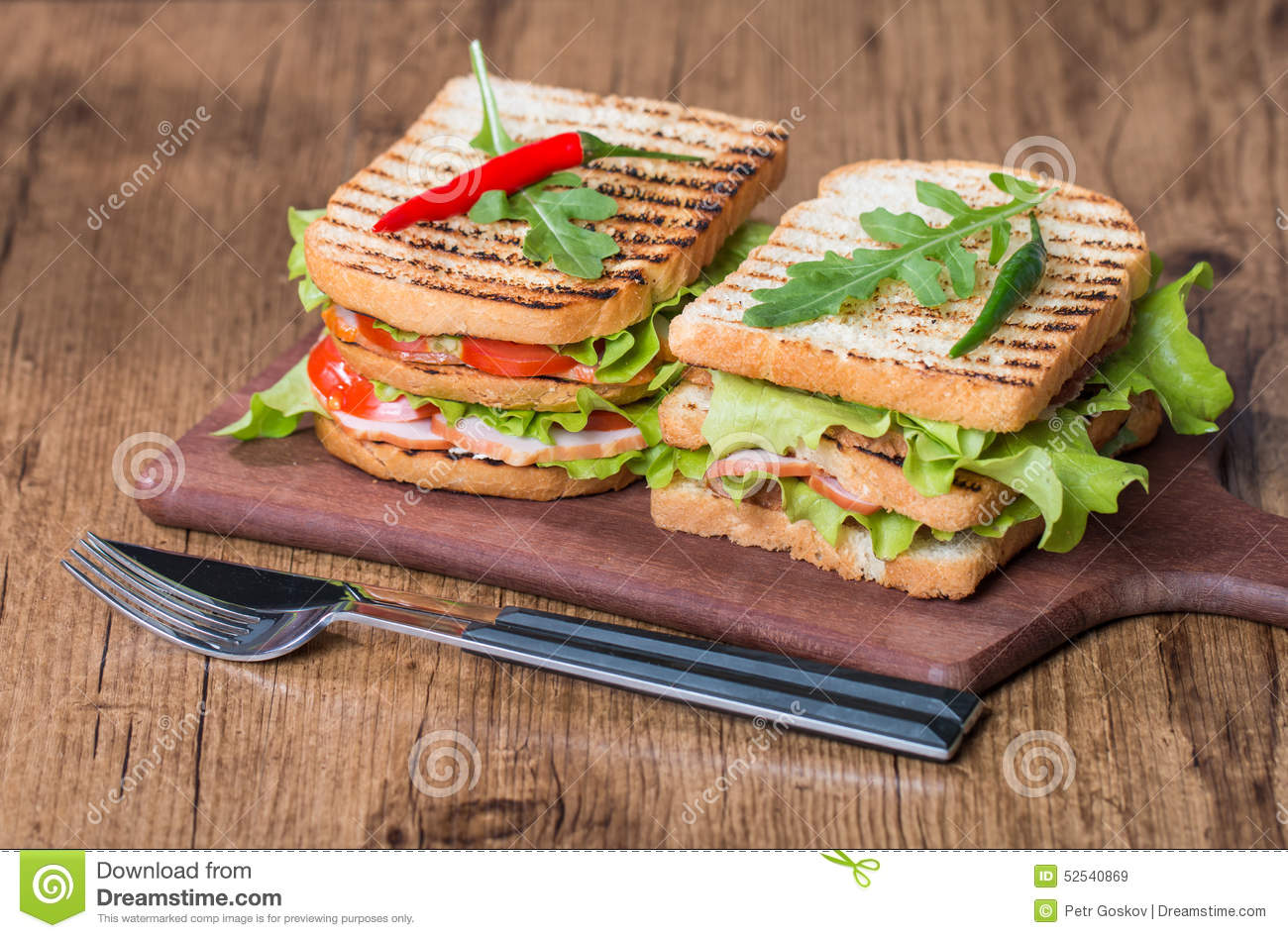 Classic Club Sandwich With Bacon And Vegetables Stock Photo - Image ...