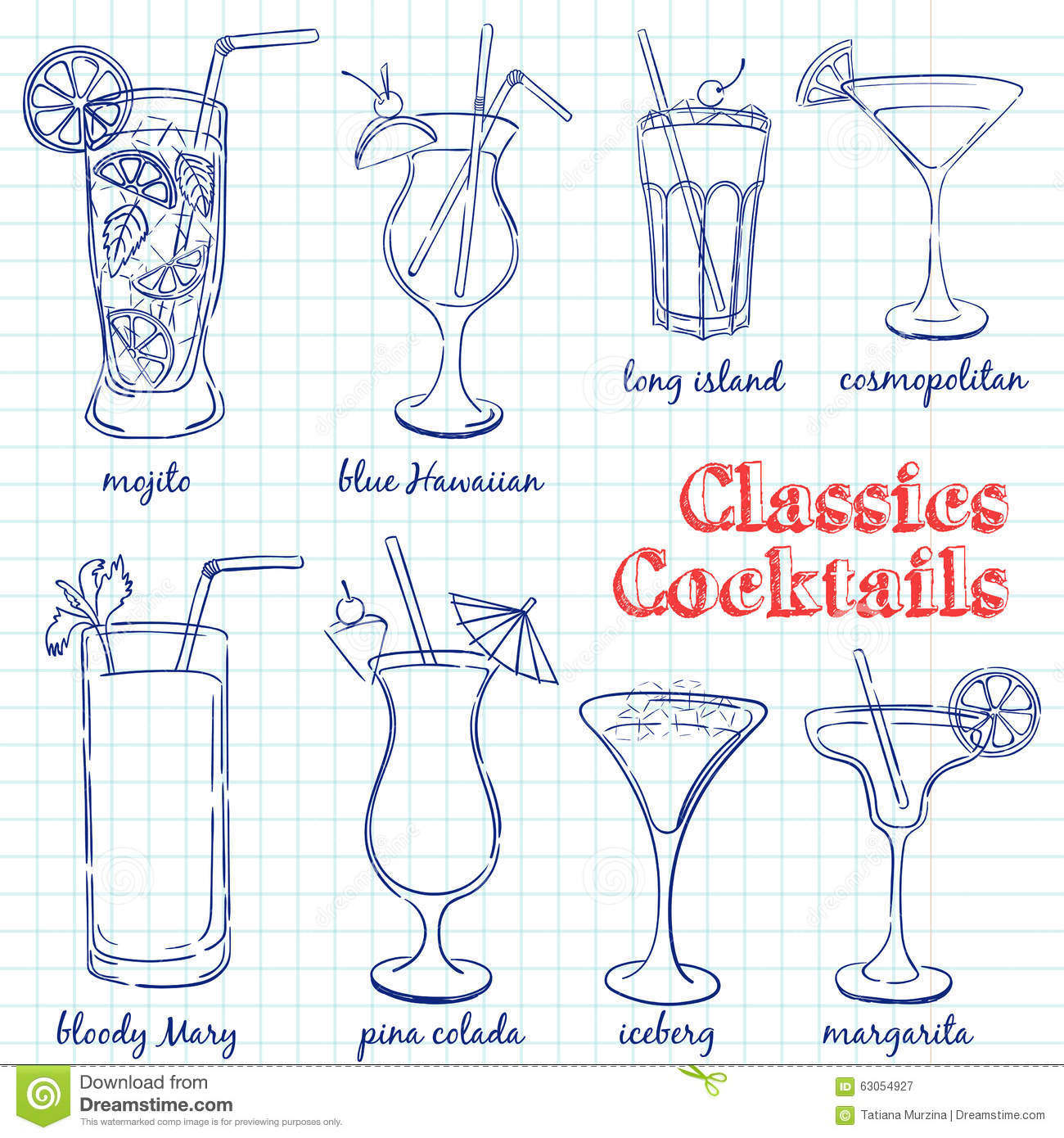 Hand drawn illustration of cocktail including recipes and for Cocktail recipes with ingredients on hand