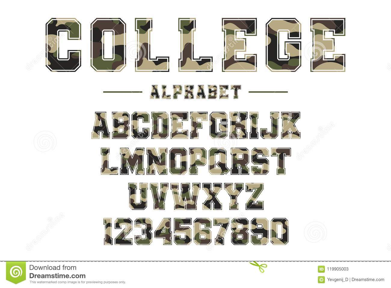 photograph relating to Printable College Logos known as Clic Faculty Font With Camouflage Texture. Traditional Video game