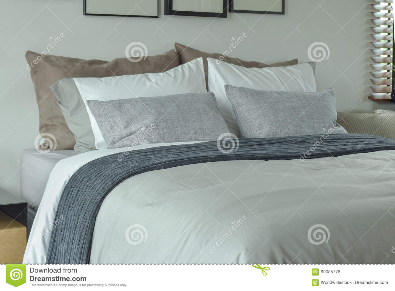 Classic Color Scheme Bedding For King Size Bed Stock Photo Image Of Serene Bedspread 90085776