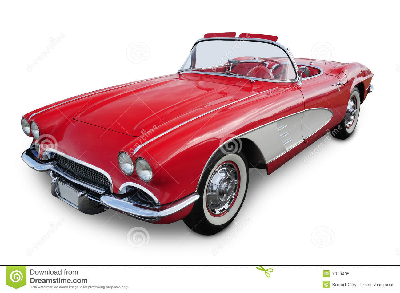 Classic red sports car convertible isolated on white with clipping