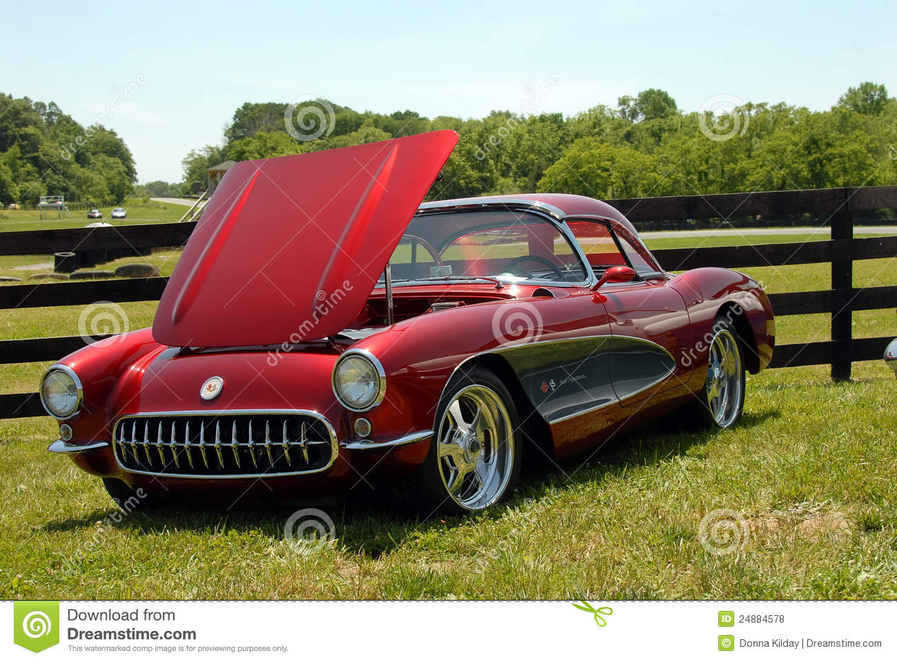 Classic maroon Corvette Sports Car on display at vintage car show at