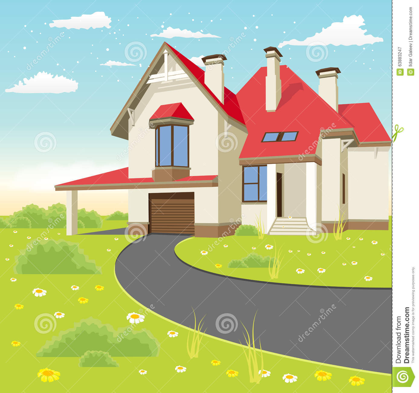 Classic cottage in the summer landscape stock vector for Classic house landscape