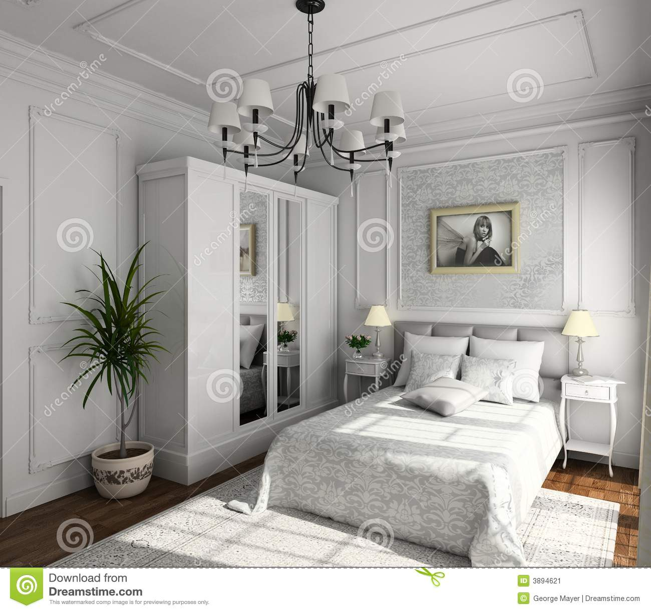 Classic design of interior stock image image of bedroom for Image of interior design