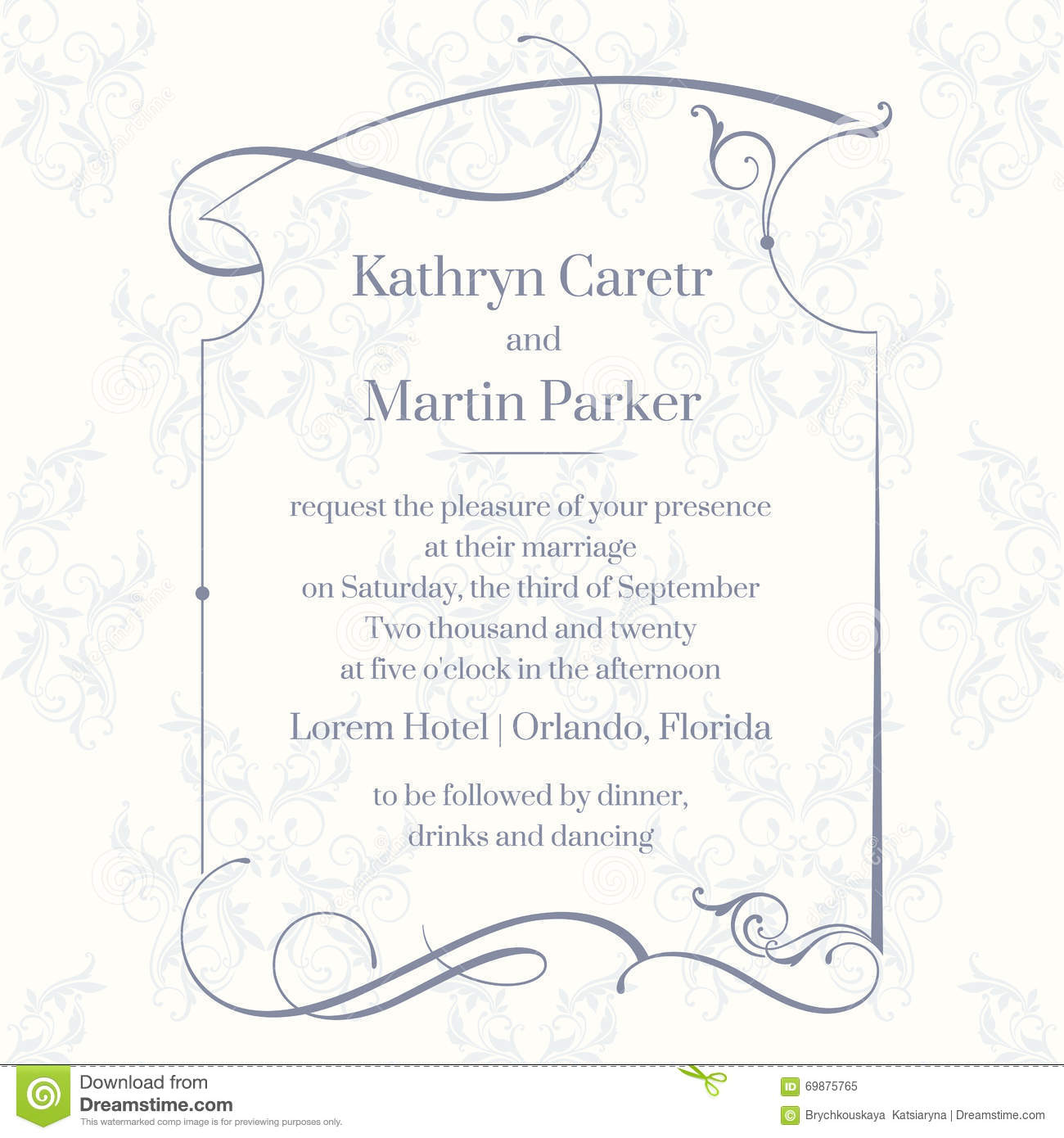 Classic Design Page. Template Cards. Wedding Invitation