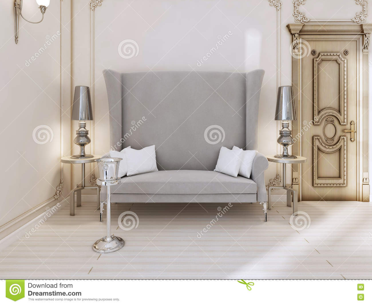 A classic designer sofa with a high back in the bedroom Small leather couch for bedroom