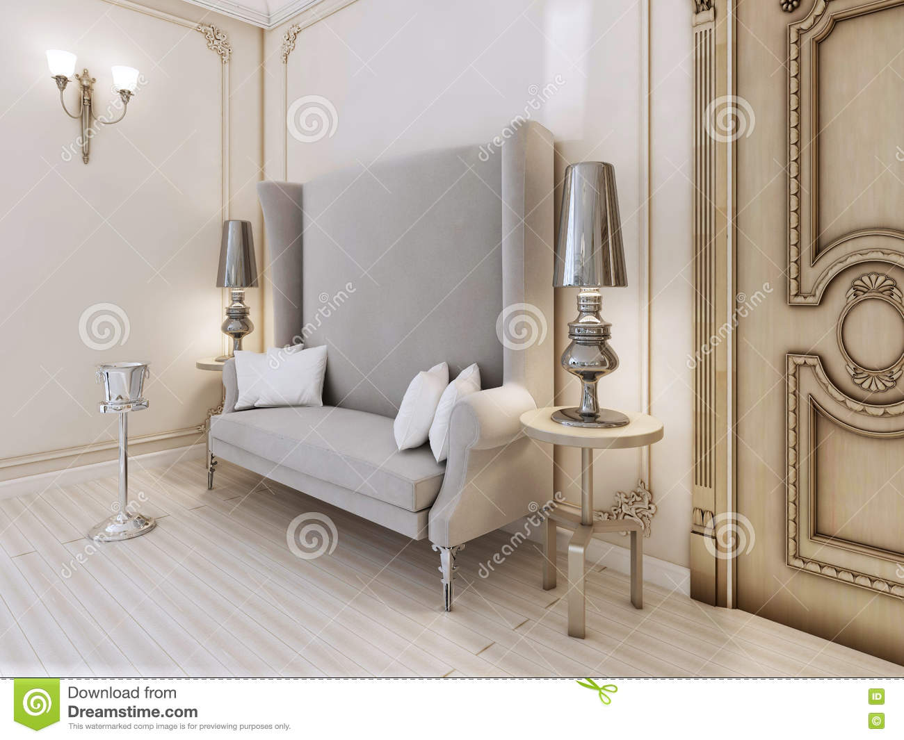 A Classic Designer Sofa With A High Back In The Bedroom