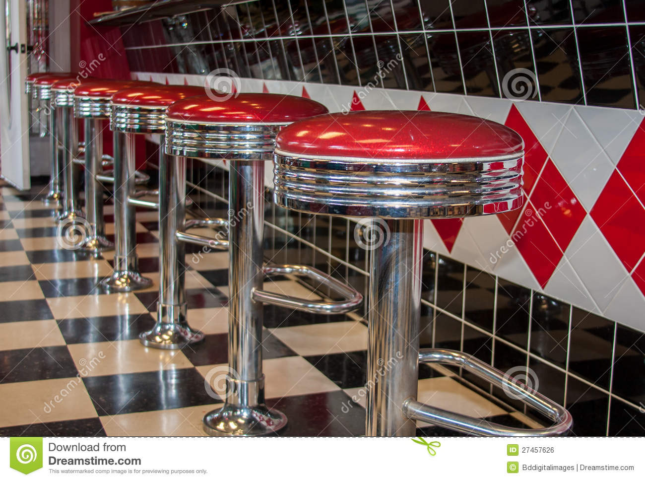 Classic Diner Bar Stools Stock Photo Image Of Business
