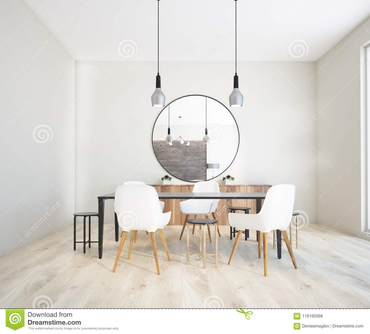 Classic Dining Room Interior Round Mirror Stock Illustration Illustration Of Blank Comfortable 118160368