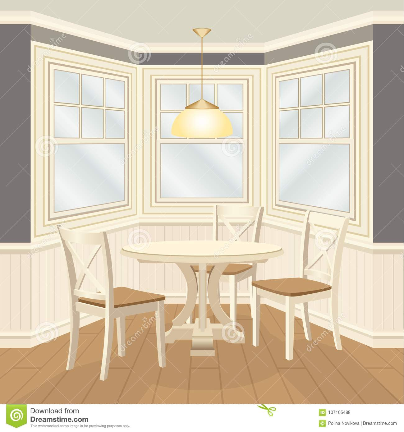 Classic Dinning Room With Round Table And Chairs Bay Window Stock Illustration Illustration Of Cottage Jetty 107105488