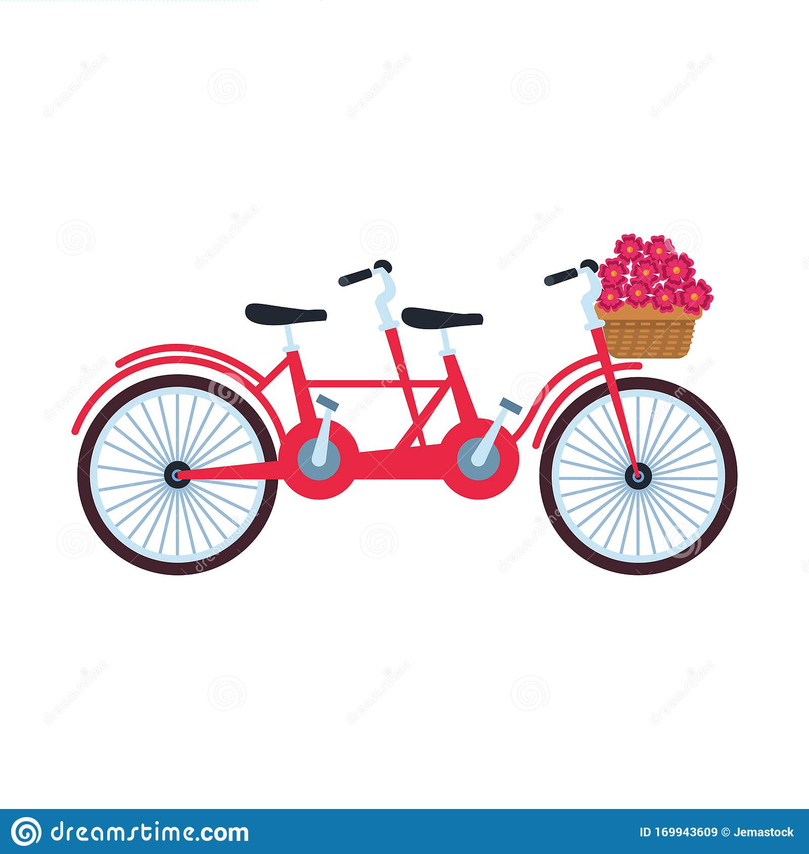 Classic Double Bike With Basket With Flowers, Colorful ...