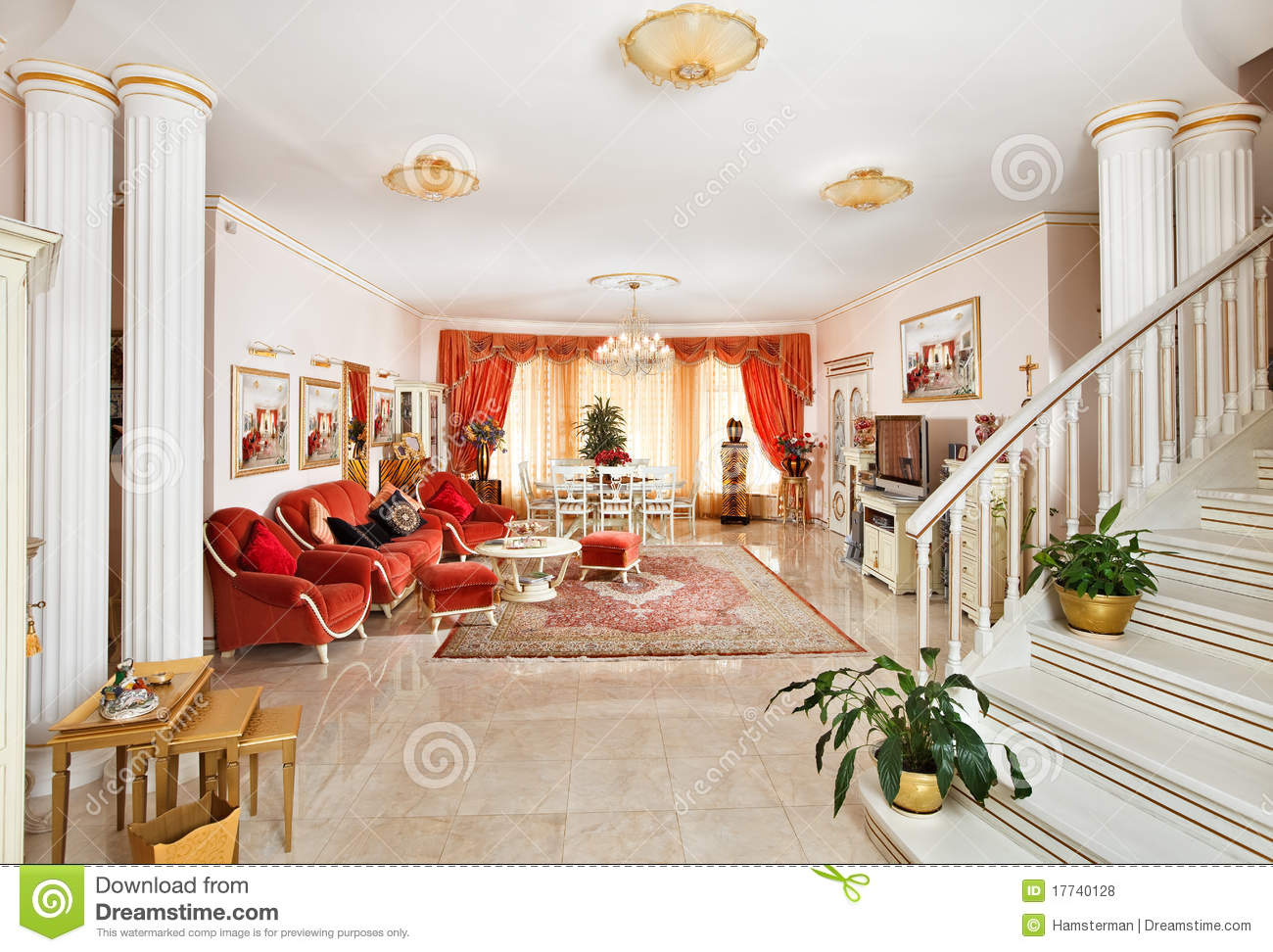 Classic Drawing Room Interior In Red And Golden Royalty
