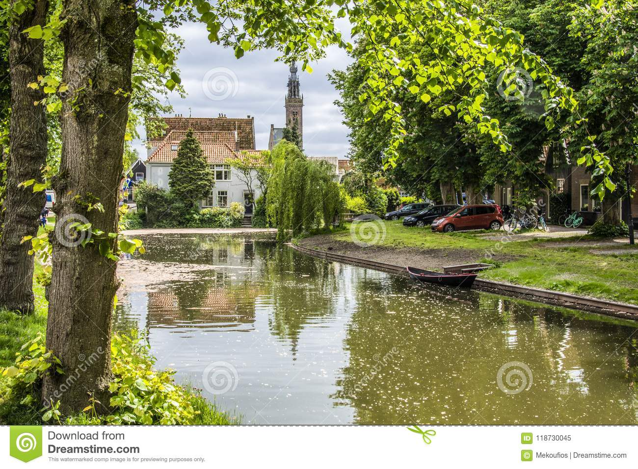 Landscape with canal and church dome. edam netherlands