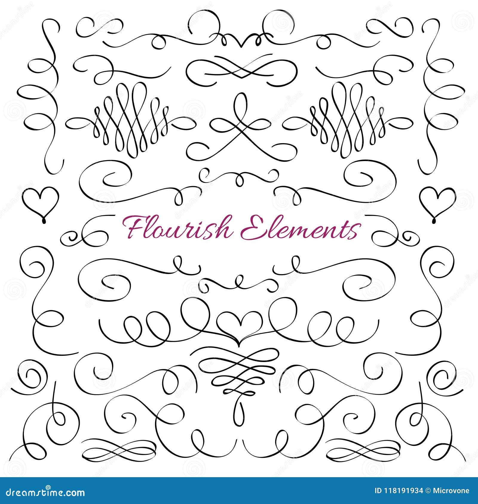 Classic elegant flourish decorative elements. Royal calligraphic swirls line vector collection