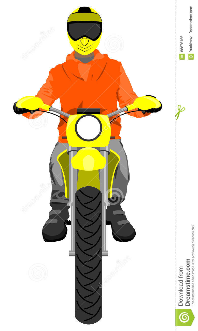 Motocross Rider On A Motorcycle - Illustration Vector ...