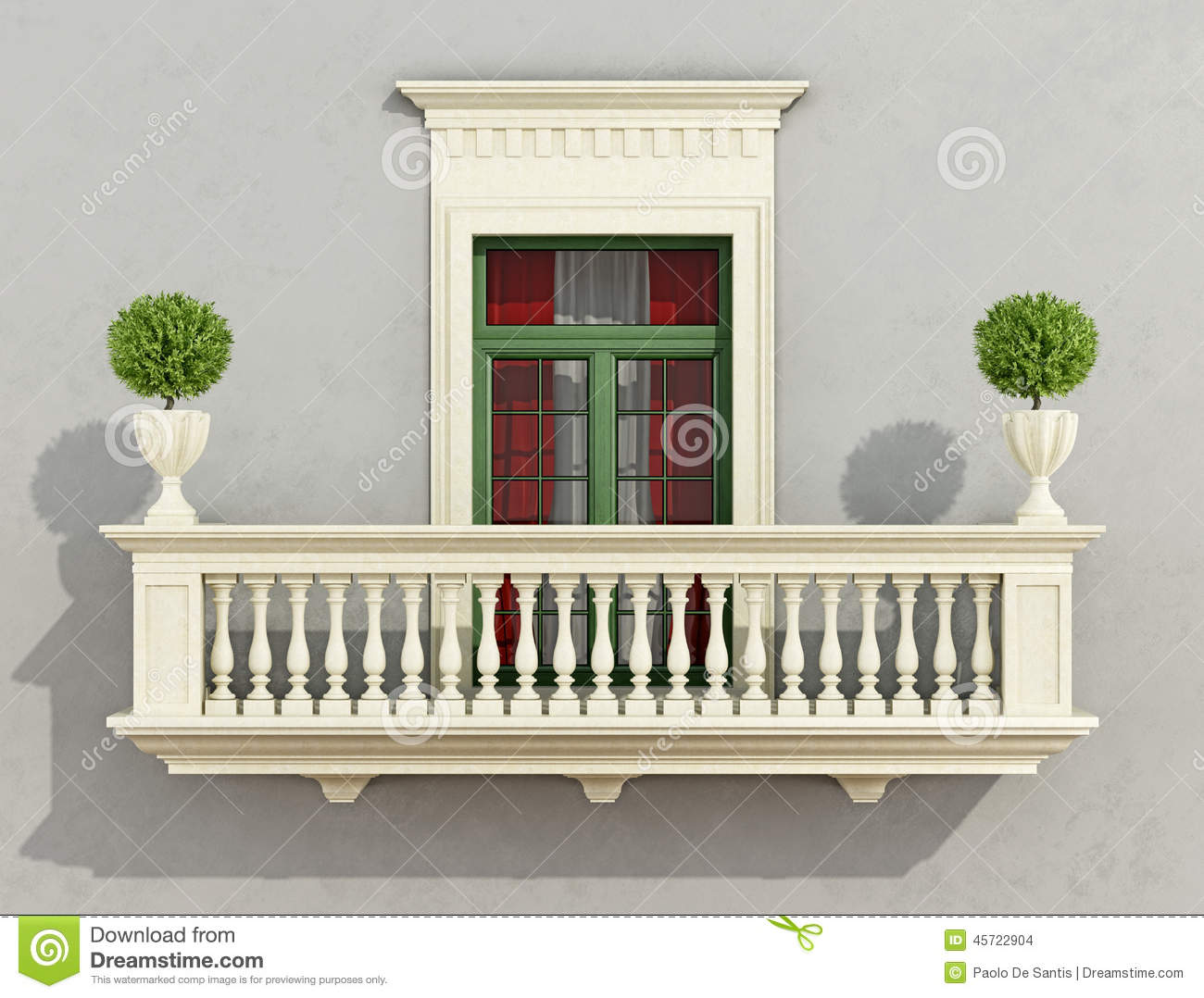 Balcony In Marble Wall : Classic facade stock illustration image of decorative