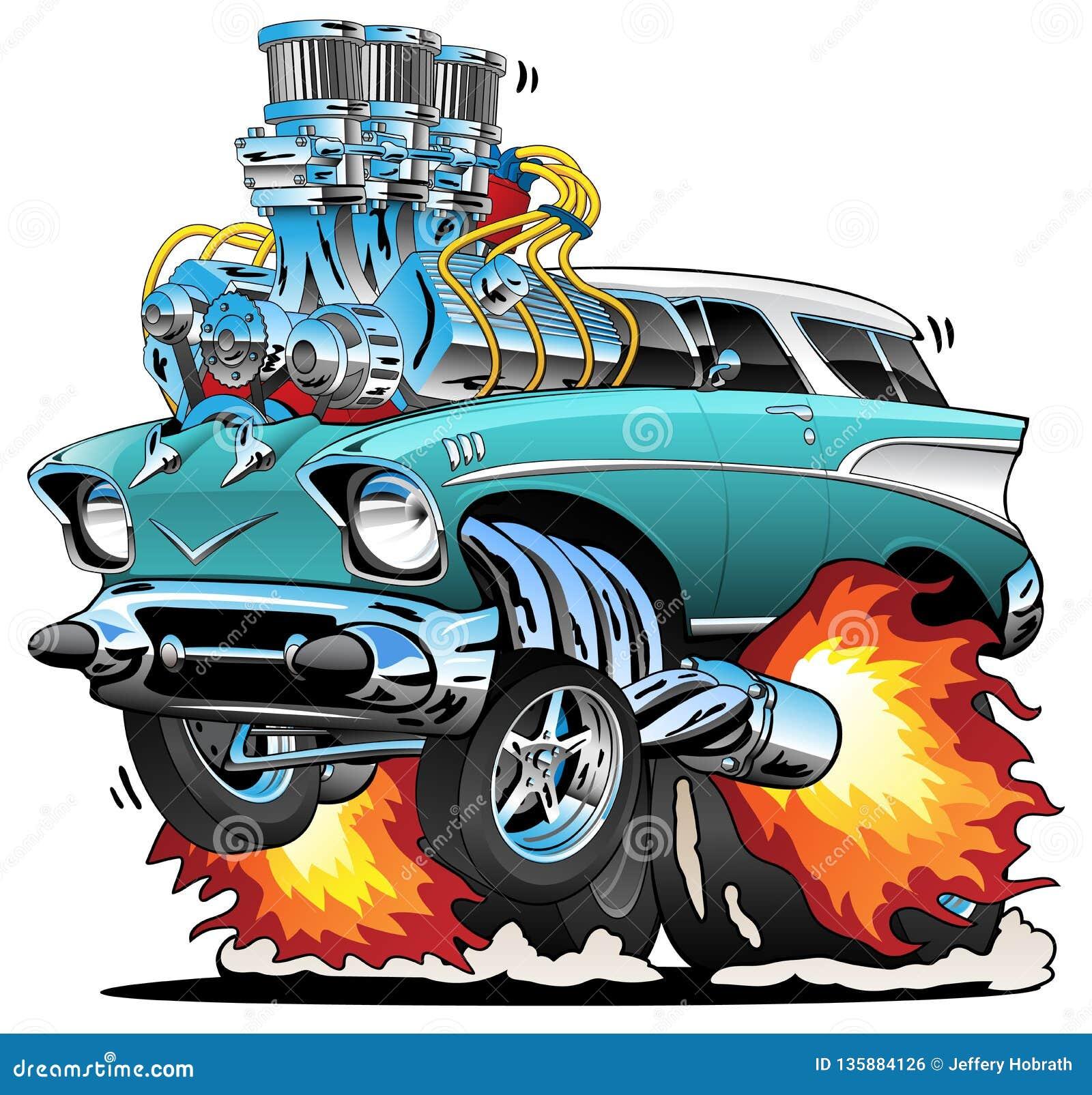 Classic Fifties Hot Rod Muscle Car Cartoon Vector Illustration