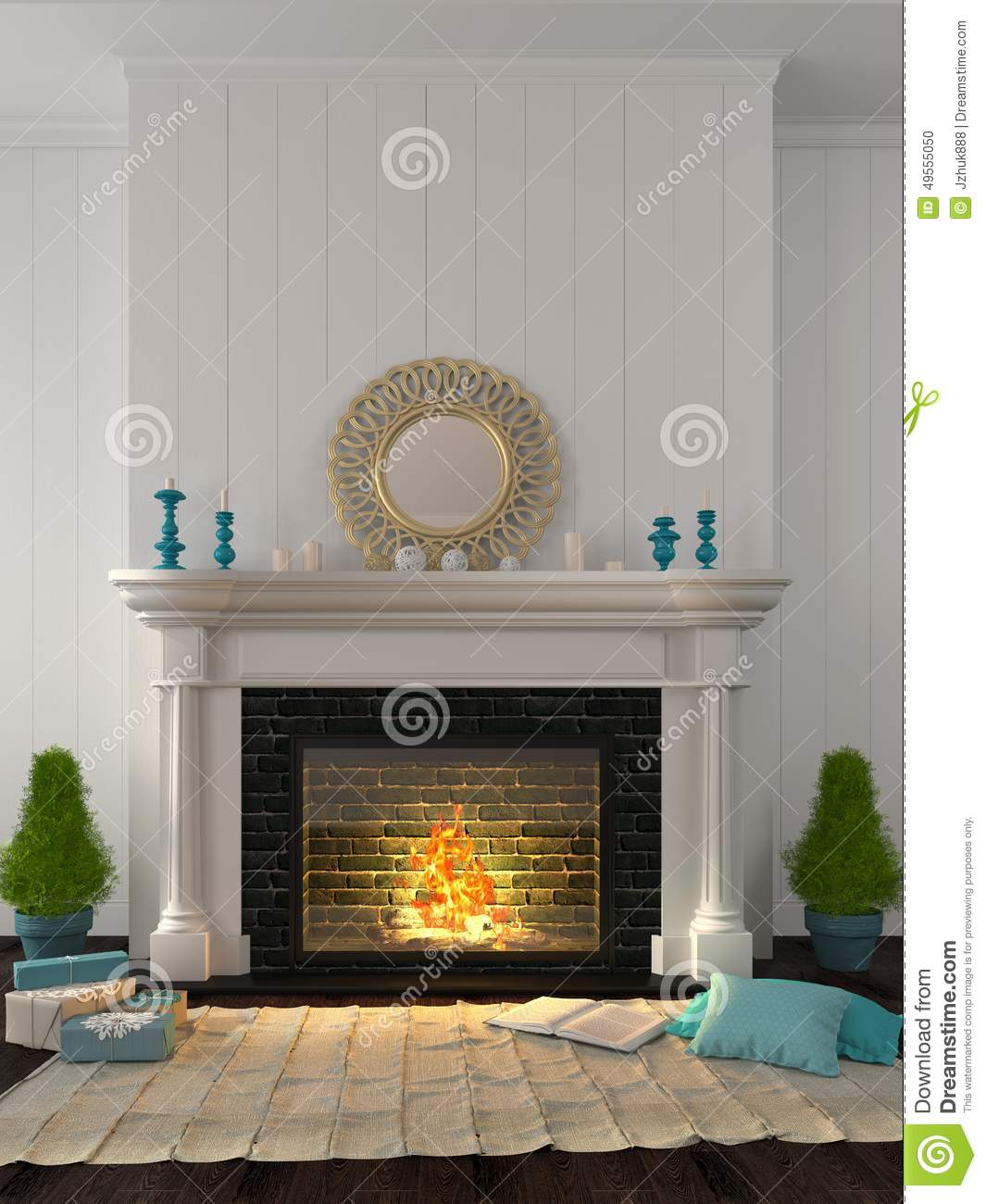 Classic fireplace with blue decor stock photo image - Decoration hotte de cheminee ...