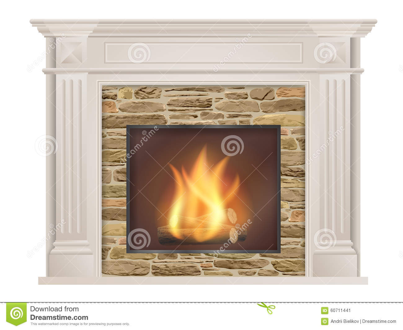 Classic Fireplace With Natural Stone And Furnace Stock