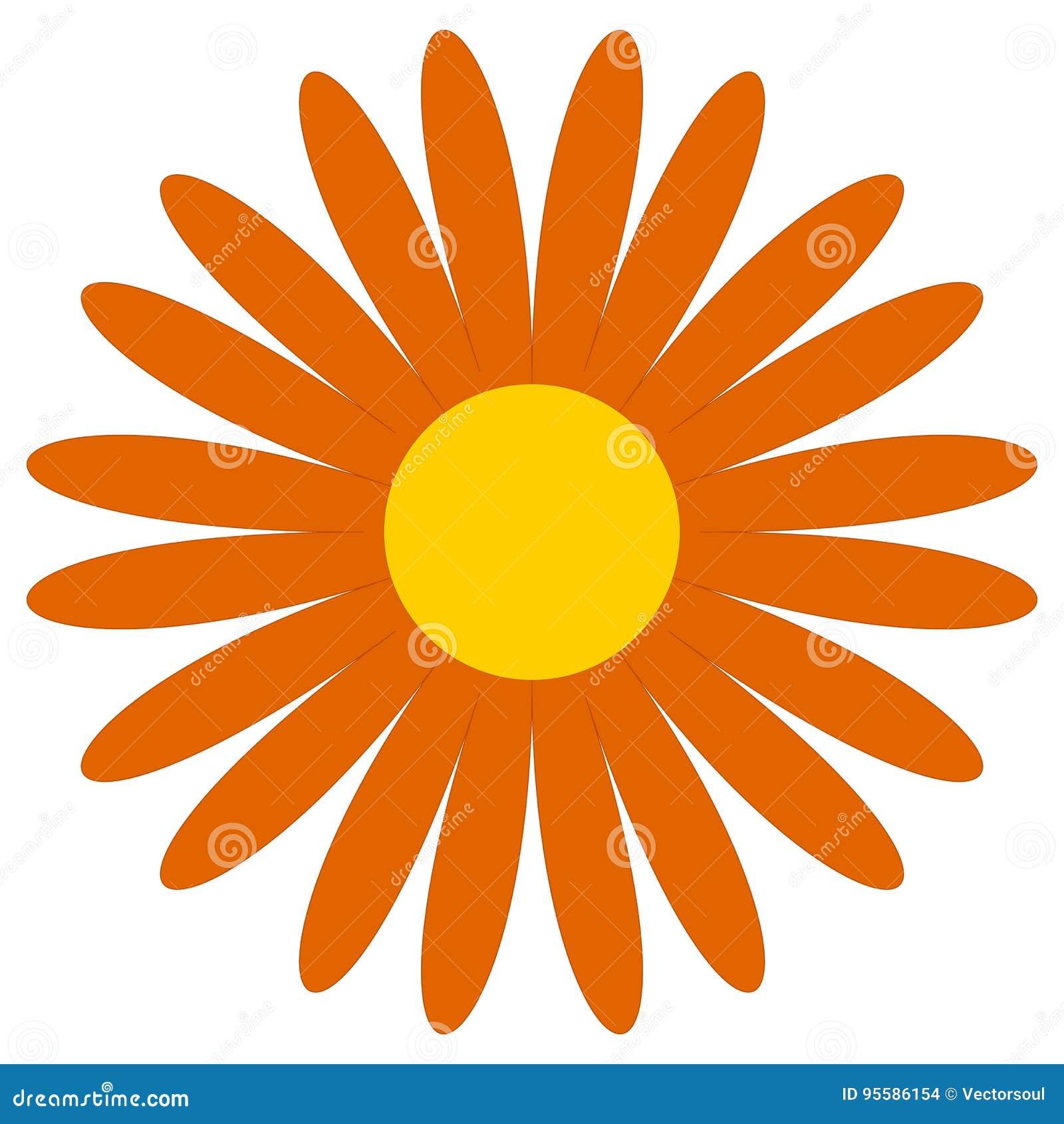 Classic Flower Clip Art Simple Orange Daisy Flower Icon Symbo