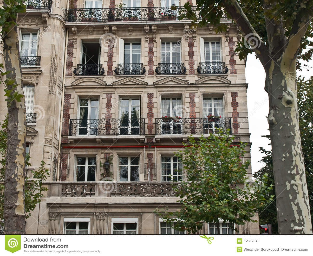 Classic french house on paris street royalty free stock for Classic house green street