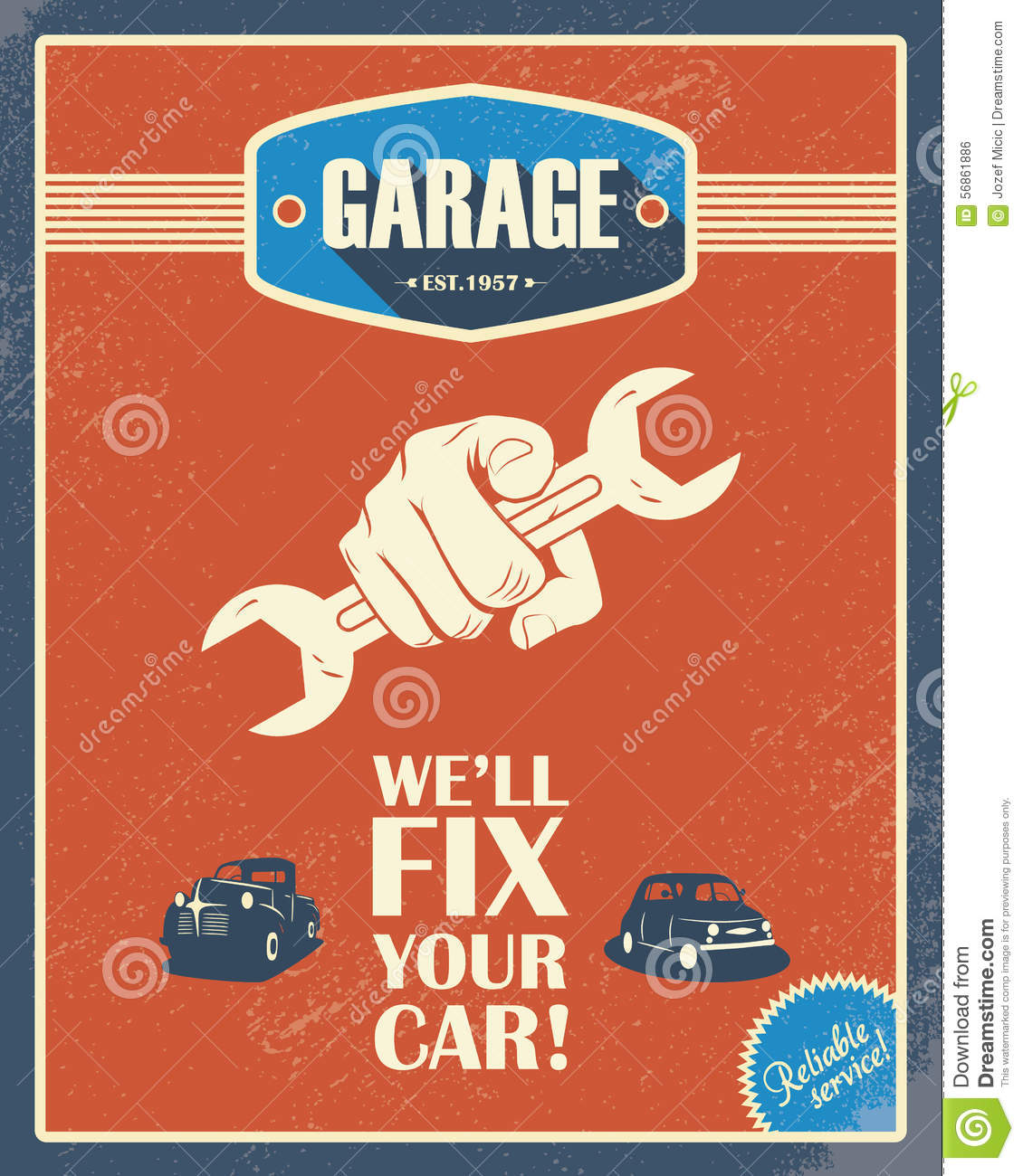 Classic garage poster vintage cars retro style stock for Garage fix auto nimes