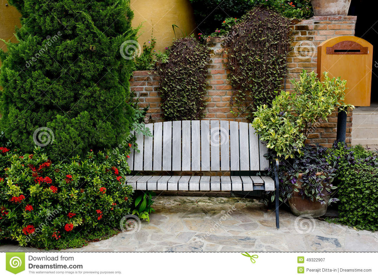 Classic Garden Bench Stock Photo - Image: 49322907