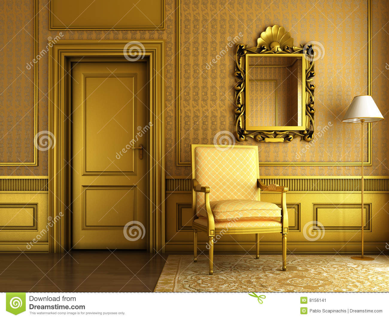 Classic Golden Interior Stock Illustration Illustration