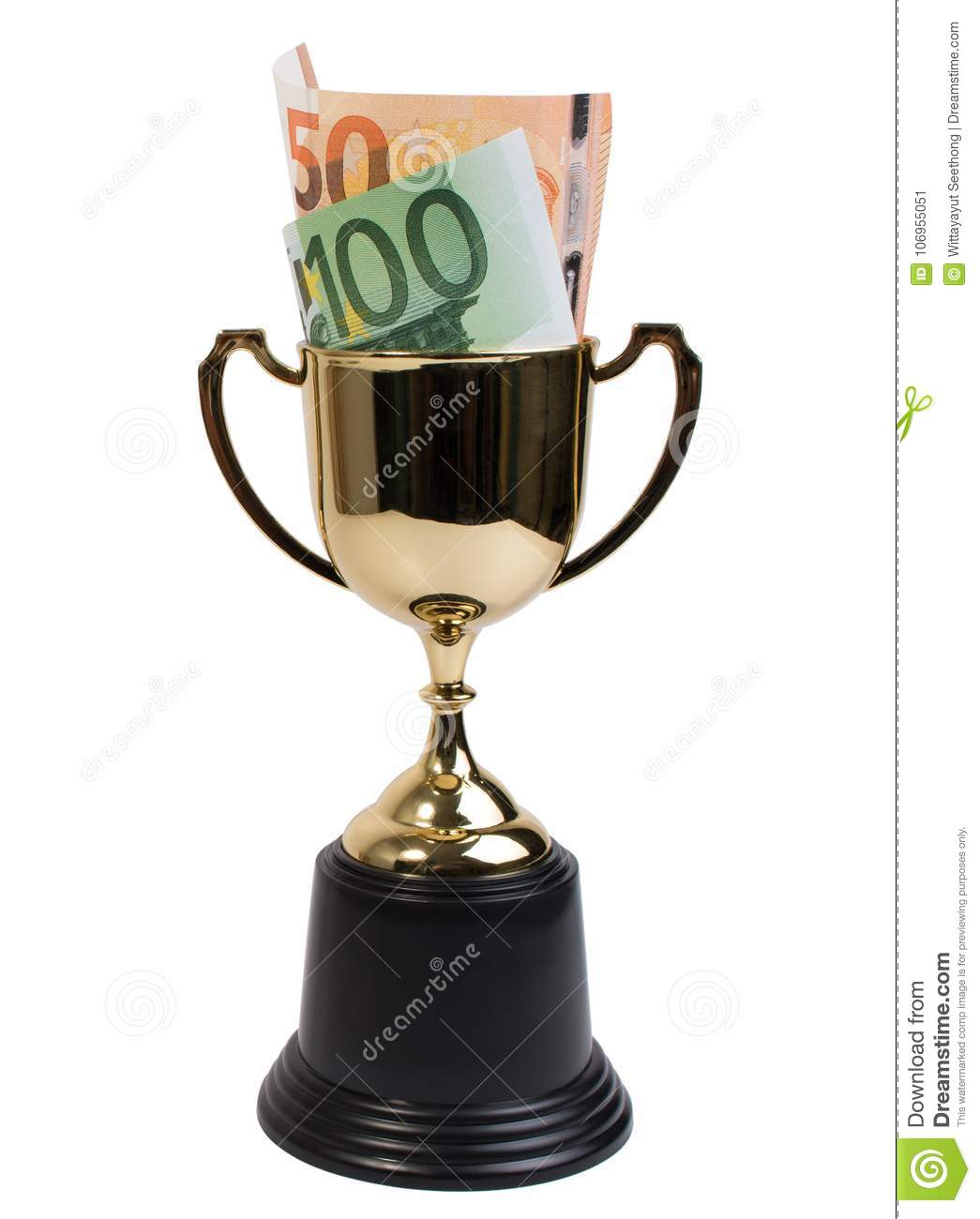 Classic golden trophy or golden cup with euro banknote isolated on white background.