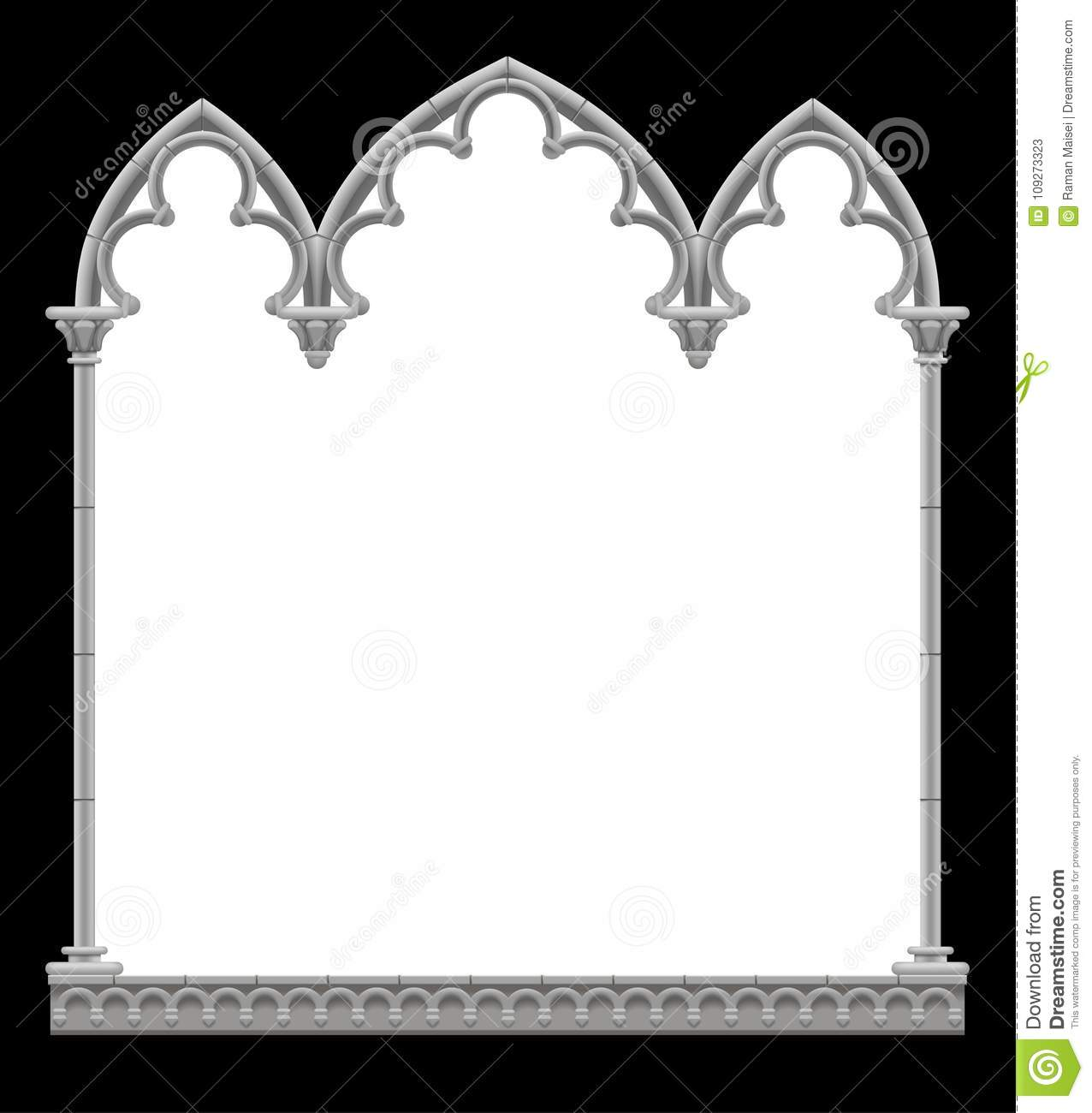 Classic Gothic Architectural Decorative Frame In Black And White