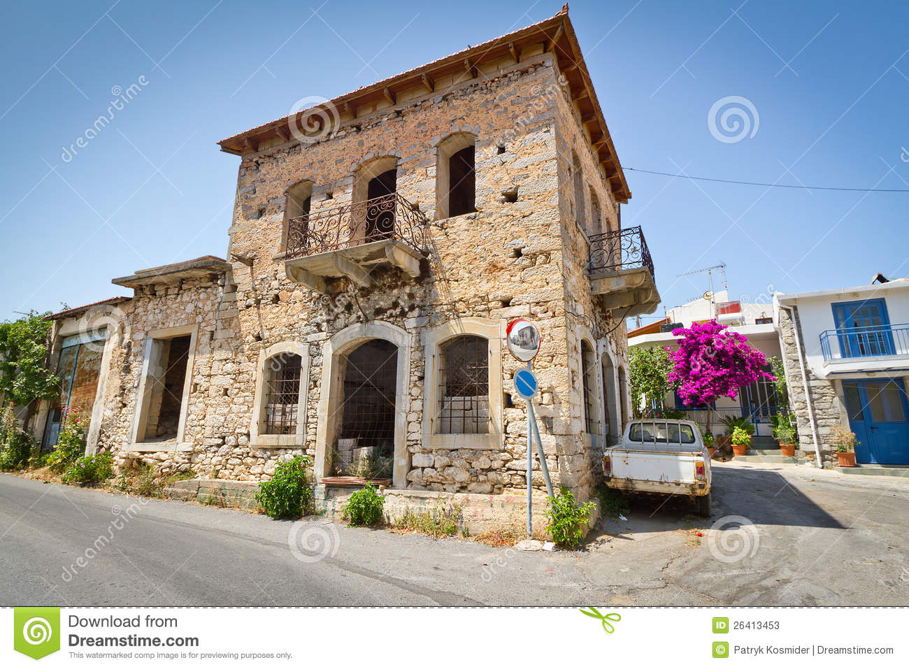Classic Greek Houses In Small Town Of Lasithi Plat Stock
