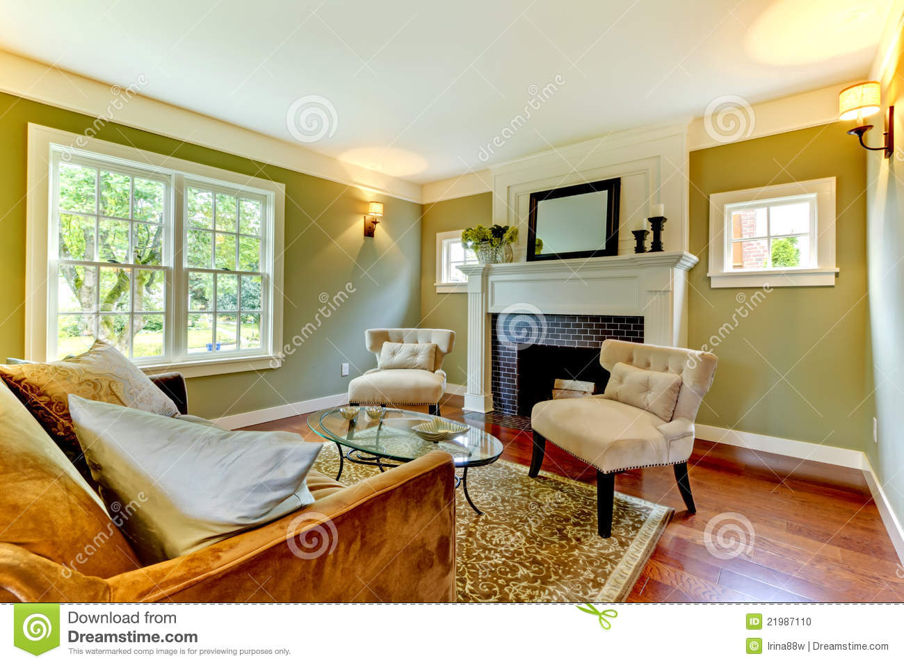 Green Living Room Stock Photography 60295814
