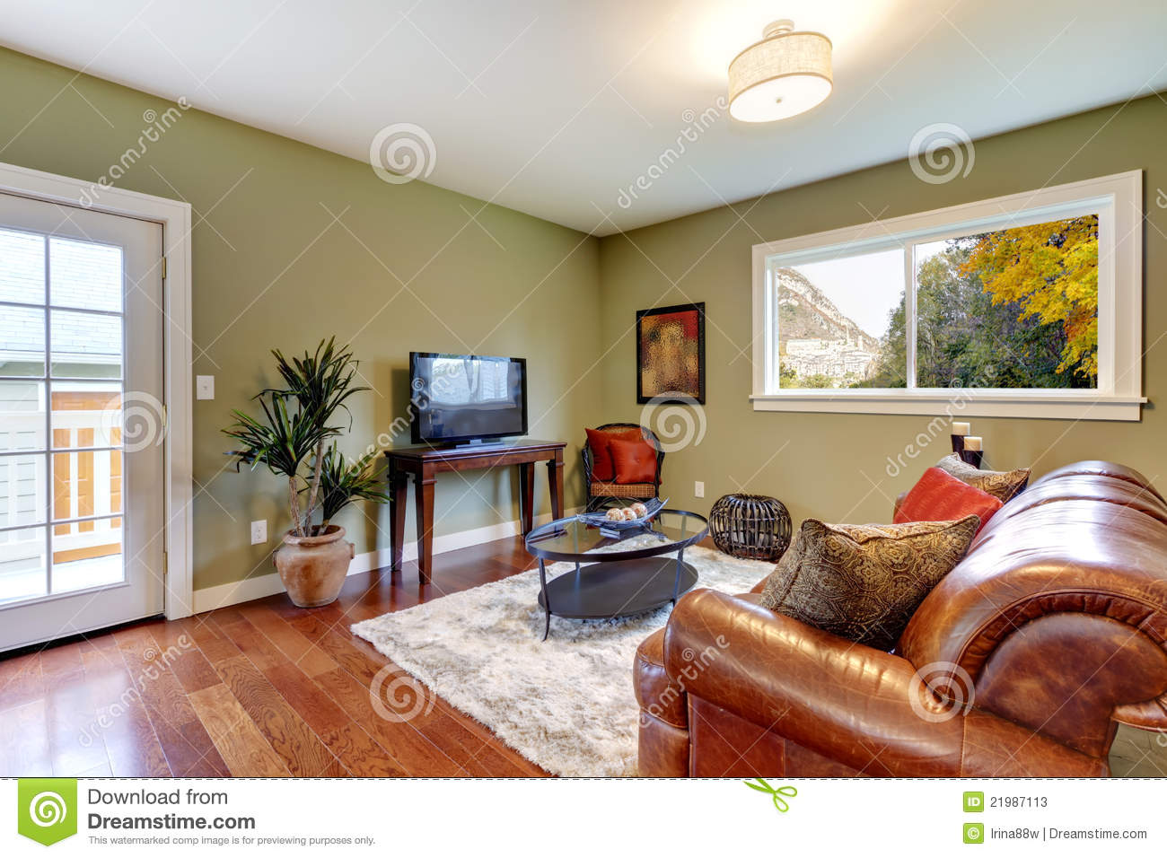 Classic Green Natural Living Room Stock Image Image Of
