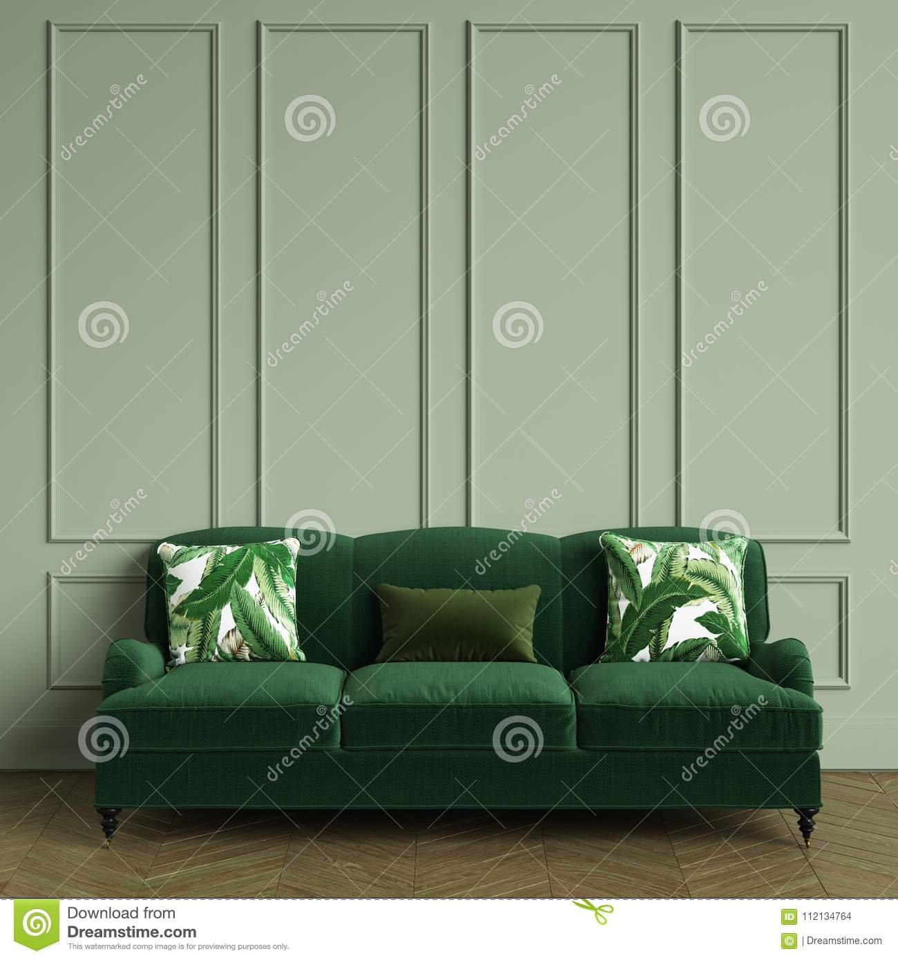 Classic Green Sofa,pillows With Tropic Leaves Print Standing ...