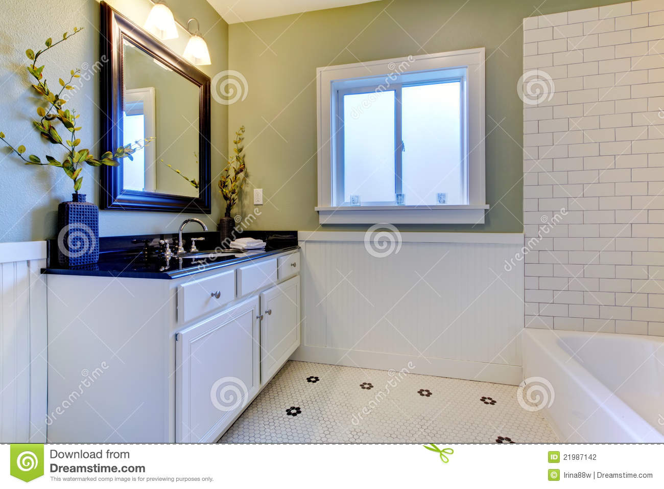 Classic green and white bathroom stock photo image of for Green and white bathroom