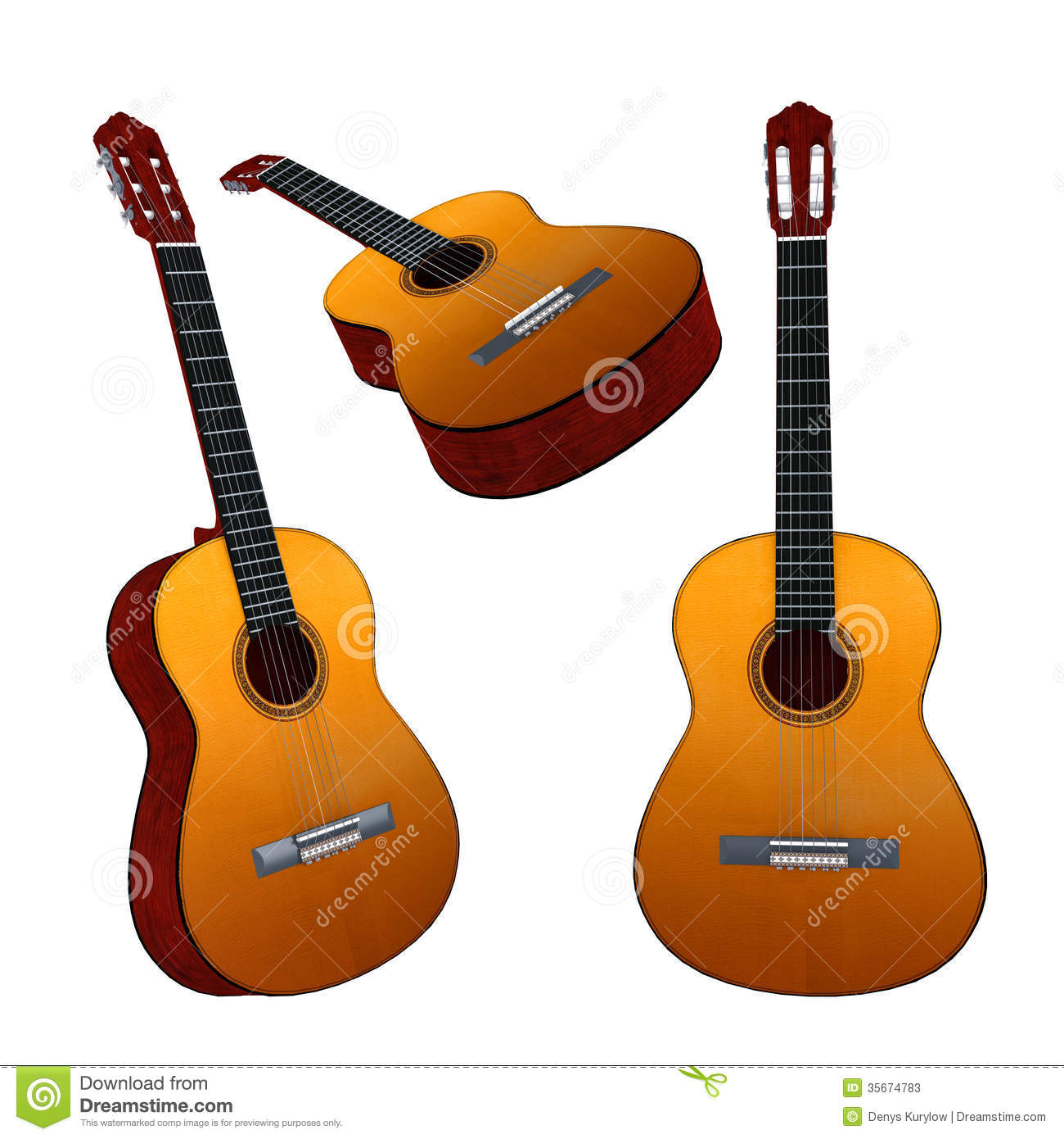 classic guitar isolated multiple angles of view stock photos image 35674783. Black Bedroom Furniture Sets. Home Design Ideas